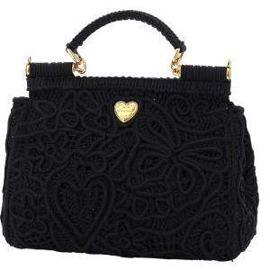 Dolce & Gabbana Black Cordonetto Lace Medium Sicily Top Handle Bag