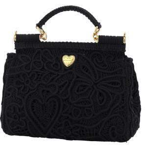 Dolce & Gabbana Black Cordonetto Lace Medium Sicily Top Handle Bag