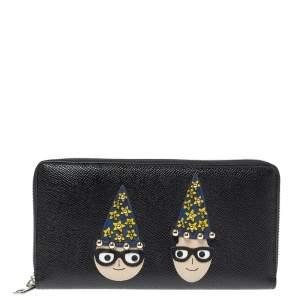 Dolce & Gabbana Black Leather DG Family Patch Zip Around Wallet
