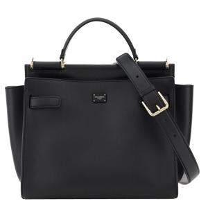 Dolce & Gabbana Black Leather Large Sicily 62 Tote