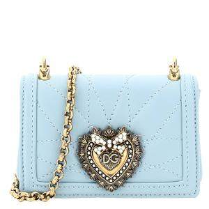 Dolce & Gabbana Blue Leather Devotion Micro Bag