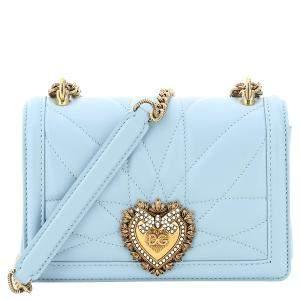 Dolce & Gabbana Blue Leather Devotion Crossbody Mini Bag