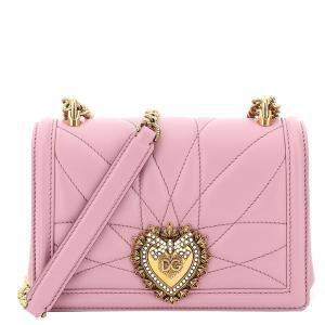 Dolce & Gabbana Pink Leather Devotion Crossbody Mini Bag