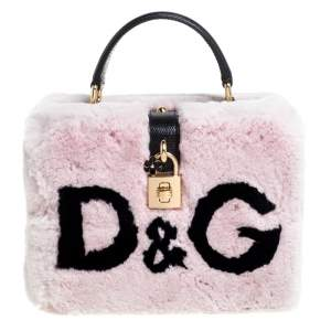 Dolce & Gabbana Dusty Pink/Black Rabbit Fur and Lizard Embossed Leather Dolce Box Top Handle Bag