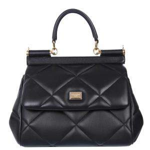 Dolce & Gabbana Black Quilted Leather Sicily Small Bag