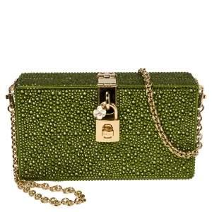 Dolce & Gabbana Green Heat-Applied Rhinestones Dolce Box Chain Clutch