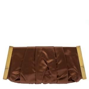 Dolce & Gabbana Copper Pleated Satin Frame Clutch