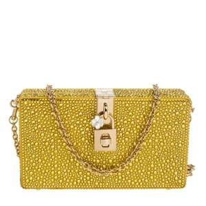 Dolce & Gabbana Yellow Heat-Applied Rhinestones Dolce Box Chain Clutch