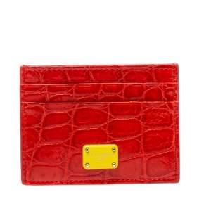 حافظة بطاقات دولتشي أند غابانا جلد تمساح برتقالية