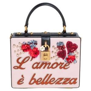 Dolce and Gabbana Multicolor Flower L'Amore Embellished Leather Box Pad lock Top Handle Bag