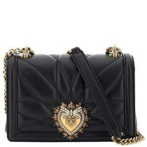 Dolce & Gabbana Black  Leather Devotion Mini Crossbody Bag