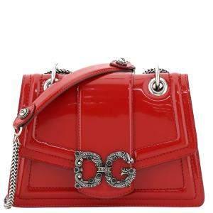 Dolce & Gabbana Red Leather DG Amore Shoulder Bag