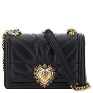 Dolce & Gabbana Black Leather Devotion Crossbody Mini Bag