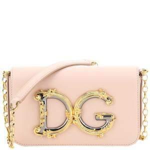 Dolce & Gabbana Pink Leather Dg Girl Mini Bag