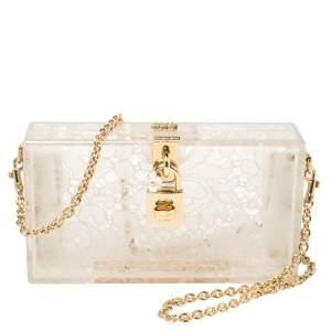 Dolce & Gabbana Transparent/White Acrylic Lace Dolce Box Bag
