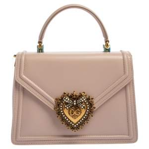 Dolce & Gabbana Powder Pink Leather Devotion Top Handle Bag