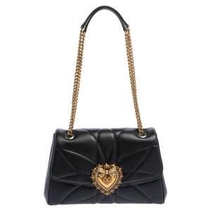 Dolce & Gabbana Black Quilted Nappa Leather Large Devotion Shoulder Bag