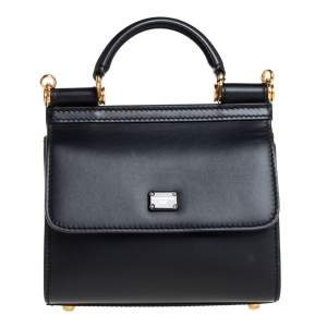 Dolce & Gabbana Black Leather Mini Sicily 58 Top Handle Bag