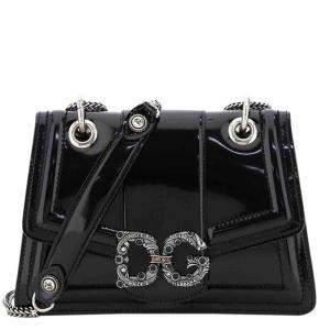 Dolce & Gabbana Black Leather DG Amore Shoulder Bag