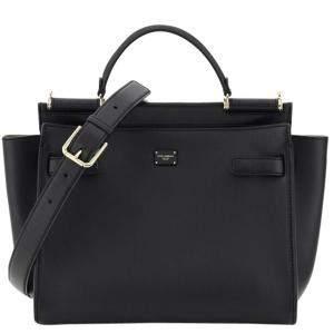 Dolce & Gabbana Black Leather Sicily 62 Medium Bag