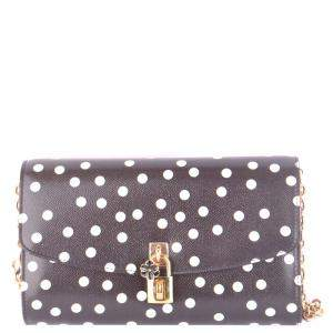 Dolce and Gabbana Black Leather Polka Dots Shoulder Bag
