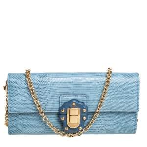 Dolce & Gabbana Blue Lizard Embossed Leather Lucia Wallet On Chain