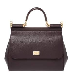 Dolce & Gabbana Burgundy Leather Medium Miss Sicily Top Handle Bag
