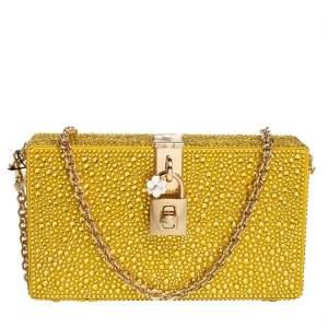 Dolce & Gabbana Yellow Crystal Embellished Satin Dolce Box Bag