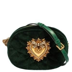 Dolce & Gabbana Green Matelassé Velvet Devotion Camera Crossbody Bag