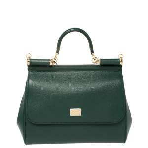 Dolce & Gabbana Green Leather Medium Miss Sicily Top Handle Bag