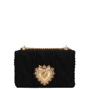 Dolce & Gabbana Black Knit Devotion Shoulder Bag