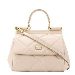 Dolce & Gabbana Beige Quilted Leather Sicily Top Handle Bag