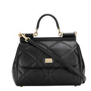 Dolce & Gabbana Black Quilted Leather Sicily Top Handle Bag