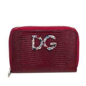 Dolce & Gabbana Red Lizard Embossed Leather Crystal-Embellished Wallet