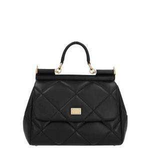 Dolce & Gabbana Black Quilted Leather Medium Miss Sicily Top Handle Bag