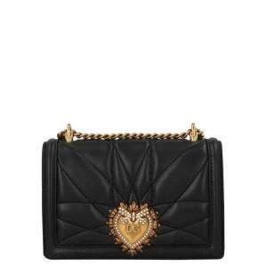 Dolce & Gabbana Black Quilted Leather Devotion Shoulder Bag