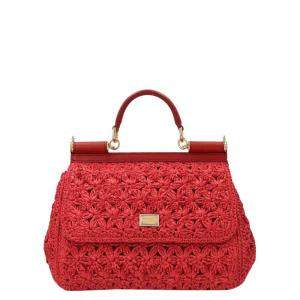 Dolce & Gabbana Red Crochet Miss Sicily Top Handle Bag