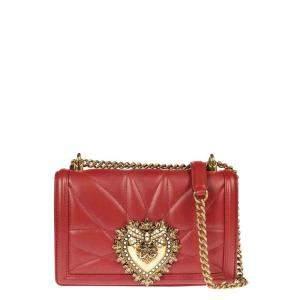 Dolce & Gabbana Red Quilted Leather Devotion Shoulder Bag