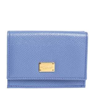 Dolce & Gabbana Purple Leather Dauphine Trifold Wallet