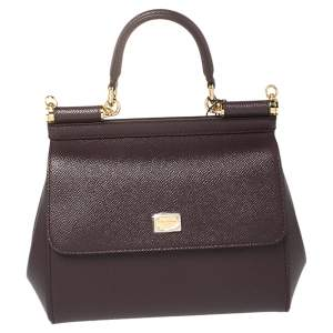 Dolce & Gabbana Burgundy Leather Small Miss Sicily Top Handle Bag