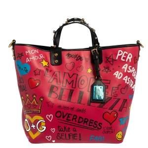 Dolce & Gabbana Multicolor Graffiti Leather Beatrice Studed Tote