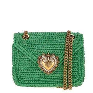 Dolce & Gabbana Green Crochet Devotion Mini Crossbody Bag
