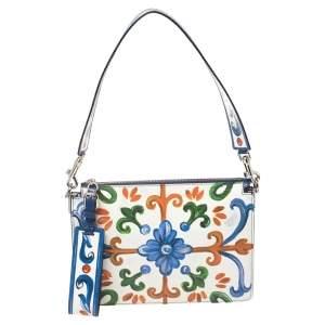Dolce & Gabbana White Majolica Print Leather Cleo Shoulder Bag