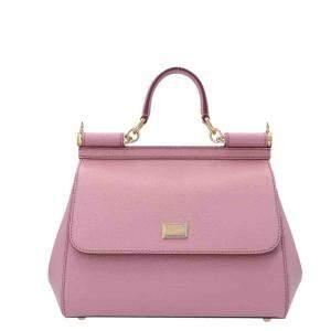 Dolce & Gabbana Rosa Pink Leather Miss Sicily Medium Top Handle Bag