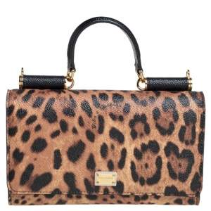 Dolce & Gabbana Black/Brown Leopard Print Coated Canvas Sicily Lipstick Wallet on Chain