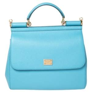 Dolce & Gabbana Sky Blue Dauphine Leather Regular Miss Sicily Top Handle Bag