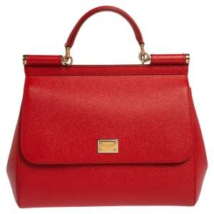 Dolce & Gabbana Red Leather Large Miss Sicily Top Handle Bag