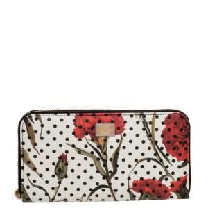 Dolce & Gabbana White Floral Print Leather Zip around Wallet