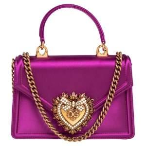 Dolce & Gabbana Pink Satin Small Devotion Top Handle Bag
