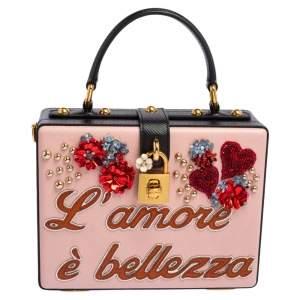 Dolce & Gabbana Multicolor Embellished Leather Box L' Amore Top Handle Bag
